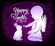 Beautiful Easter card with angel and bunny Stock Photography