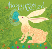 Beautiful Easter card with Bunny. Royalty Free Stock Photos