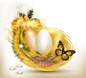 Beautiful easter card with ferns, roses and eggs in nest Stock Photography