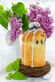 Beautiful Easter composition - Easter sweet bread kulich and bou Stock Photography