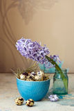 Beautiful Easter composition. Quail eggs in blue bowl and the flower hyacinth. Royalty Free Stock Photos