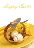 Beautiful easter composition on white stock images