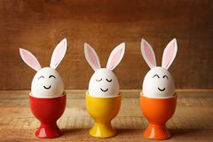 Beautiful Easter composition with white eggs Stock Photos