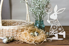 Beautiful Easter composition on wooden table Royalty Free Stock Image