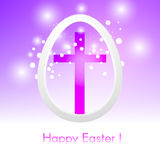 Beautiful Easter egg with cross on pink background with glow and Stock Image