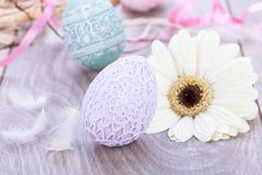 Beautiful easter egg decoration colorfull eggs seasonal pastel Royalty Free Stock Photo