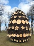 Beautiful Easter egg made from wood, Lithuania royalty free stock image