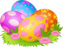 Beautiful Easter eggs. Beautiful coloring Easter eggs on the meadow stock illustration