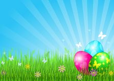 Beautiful Easter eggs background Stock Photo
