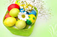 Beautiful Easter eggs and a basket Royalty Free Stock Images