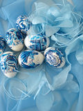 Beautiful easter eggs on blue. Background Royalty Free Stock Photo