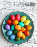 Beautiful Easter eggs decorated for holiday. Royalty Free Stock Image