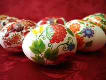 Beautiful Easter Eggs On Red Stock Photos