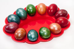 A beautiful Easter eggs in a plastic holder Royalty Free Stock Images