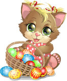 Beautiful Easter kitten. With a big basket of eggs Stock Photos