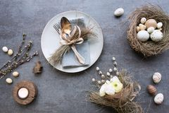 Easter menu served on a gray stone plate Stock Images
