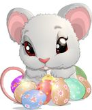 Beautiful Easter mouse. With a big basket of eggs Royalty Free Stock Photography
