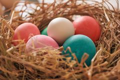 Beautiful Easter multi color egg in straw on wooden background, Easter day concept royalty free stock image
