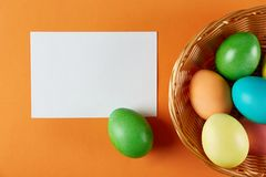 Traditional painted Easter eggs concept. Top view composition stock photo
