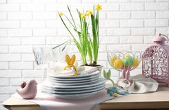 Beautiful Easter table setting Stock Images