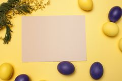 Beautiful easter table setting composition. Stock Photo