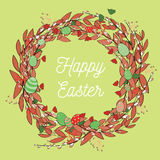 Beautiful Easter wreath with eggs. Vector illustration on light green background. Happy Easter in the middle of the wreath. Hand drawn beautiful Easter wreath vector illustration