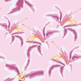 Beautiful eastern pattern with blooming lilies with on Green background, vector illustration. Seamless floral pattern of tropical pink lilies. Hand painted stock illustration