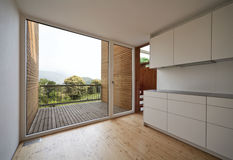 Beautiful ecologic house. Kitchen view Stock Photography