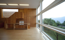 Beautiful ecologic house. Livingroom view Stock Photo