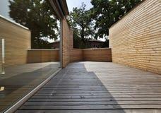 Beautiful ecologic house, outdoors. Balcony Stock Photo