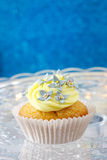 Beautiful edelweiss cupcake, copy space Royalty Free Stock Photography
