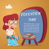 Beautiful Education Poster Isolated on Orange. Beautiful Education Poster with Girl Adding Textbooks in School Bag  Isolated on Orange Bacground Royalty Free Stock Photography