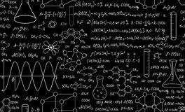 Beautiful educational chemistry vector seamless pattern with plots, formulas and laboratory equipment. Scientific background stock photos