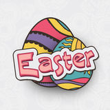 Beautiful eggs for Happy Easter celebration. Beautiful painted eggs on floral design decorated grey background for Happy Easter celebration Stock Photography