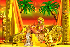 A beautiful Egyptian goddess lying down on a chaise lounge Royalty Free Stock Photography