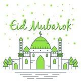 Beautiful eid mubarok with green mosque illustration, template islamic greeting card  vector illustration