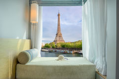 Beautiful Eiffel tower view at window in resort Stock Photography