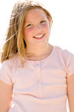 Beautiful eight year old girl. A beautiful, angelic eight year old girl royalty free stock photography