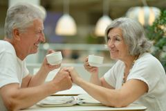 Beautiful elderly couple on date Royalty Free Stock Photos