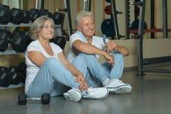 Beautiful elderly couple in gym Stock Image
