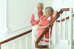 Beautiful elderly couple on stairs Stock Images