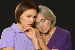 Beautiful elderly mother with an adult daughter Royalty Free Stock Photo
