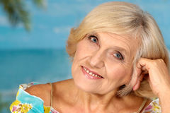 Beautiful elderly woman smiling Royalty Free Stock Images