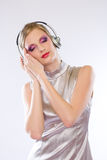 Beautiful electro pop girl in headphones. Royalty Free Stock Photo