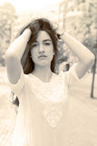 Beautiful elegan woman glamour and retro style effect, Royalty Free Stock Photography