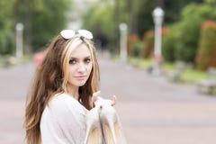Beautiful elegance girl with heels in hand, outdoor. Stock Images