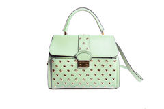 Beautiful elegance and luxury fashion leather green women handbag isolated Royalty Free Stock Photos