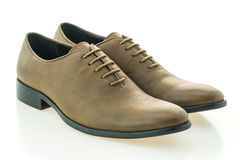 Beautiful elegance and luxury leather brown men shoes Stock Photos