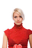Beautiful elegant blond woman in a red top Royalty Free Stock Photos