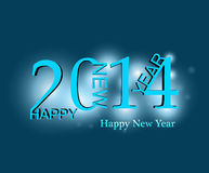 Beautiful elegant blue colorful new year 2014 card Royalty Free Stock Image